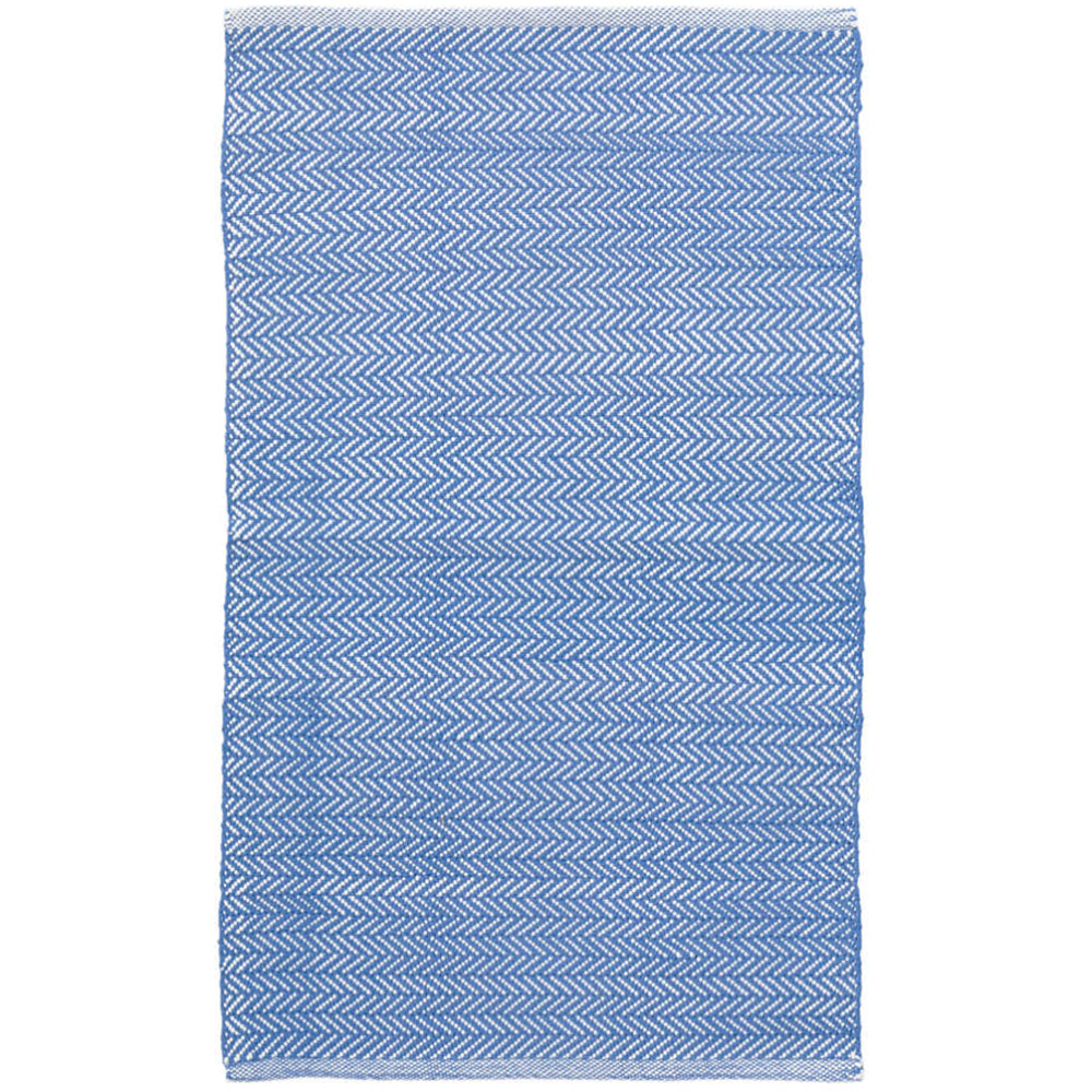 Bright Blue Herringbone Indoor/Outdoor Rug