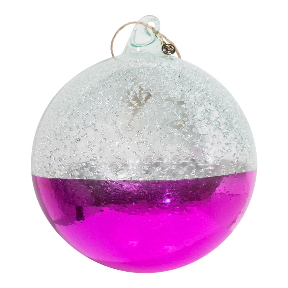 Dwell Chic-Hot Pink and Silver-Two Tone Colorful Glass Ornament-Ornaments