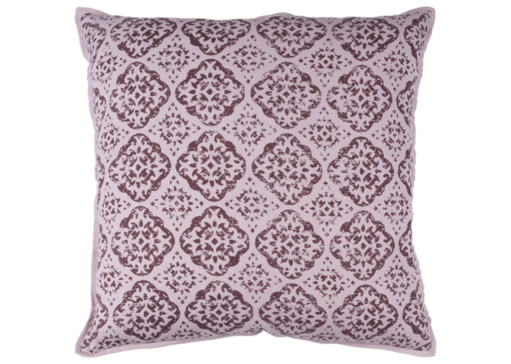 Purple and Mauve Geometric Floral Pillow Cover (insert not included)