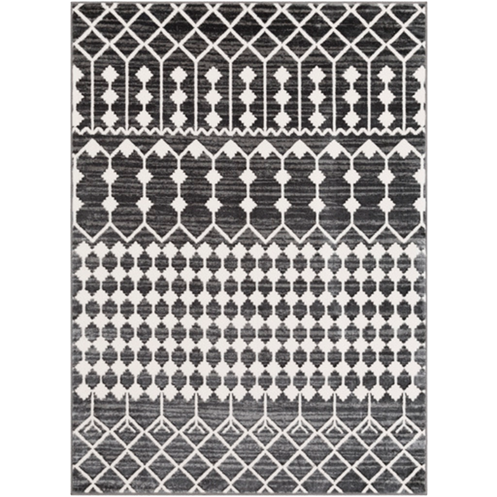 Charcoal and White Geometric Patterned Rug