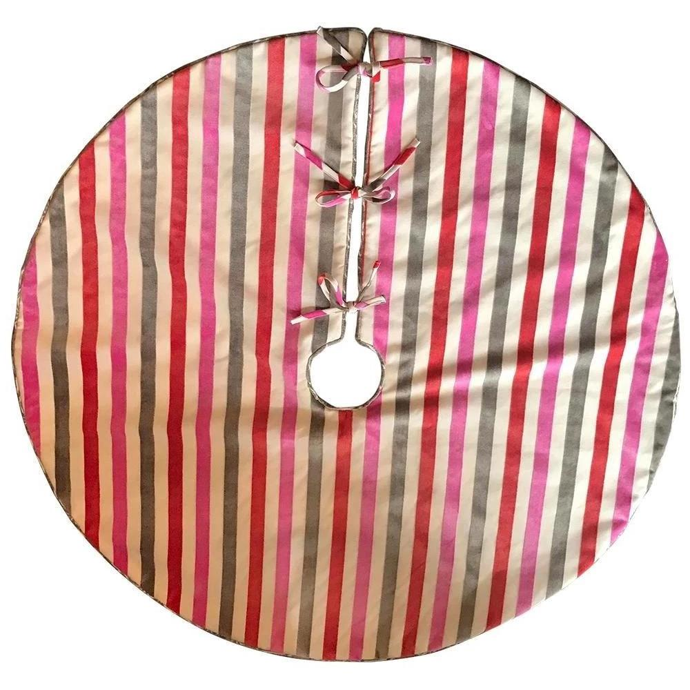 Dwell Chic-Red, Pink, and Grey Striped Velvet Reversible Tree Skirt-Tree Skirt