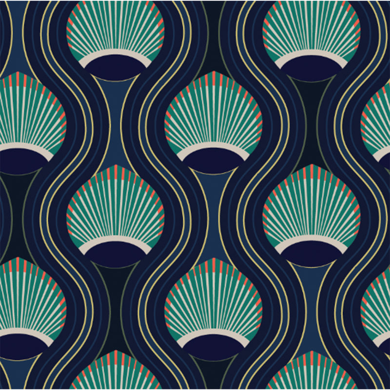 Teal and Navy Medallion Peel & Stick Wallpaper