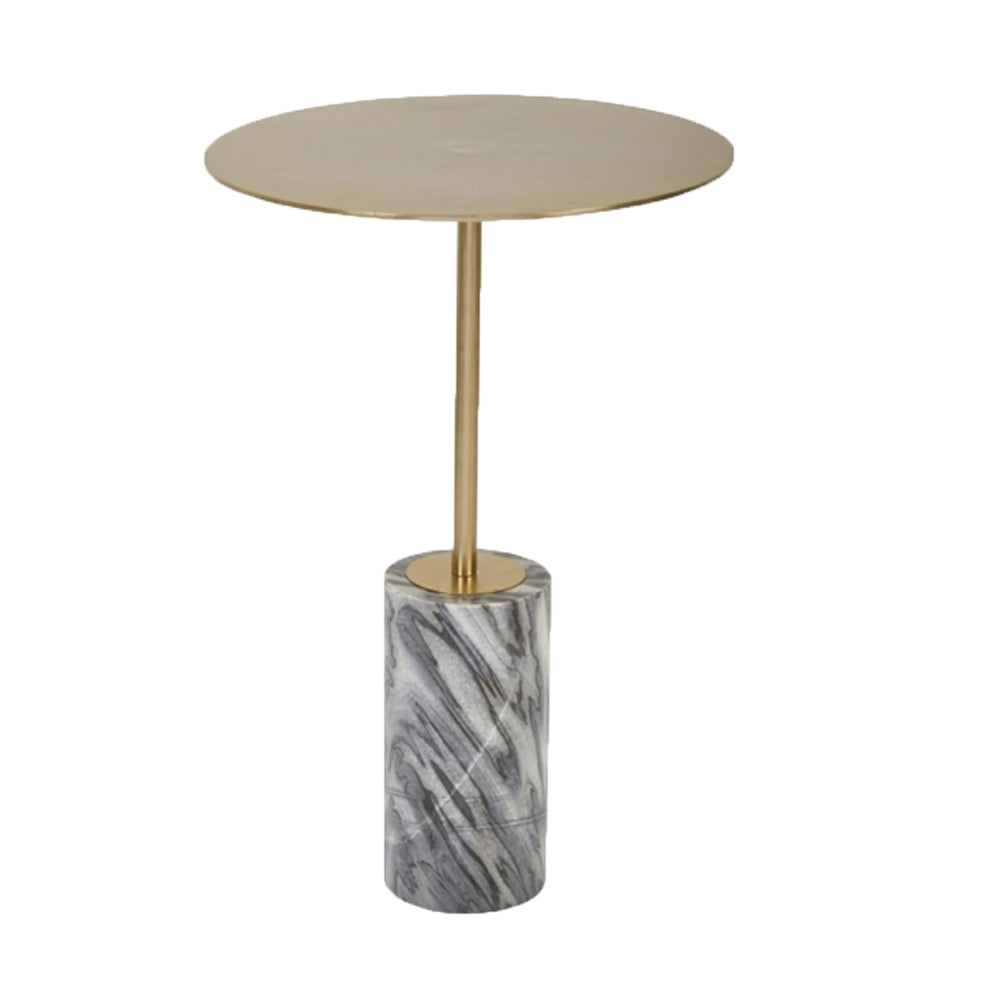 Gold and Black Aluminum and Marble Accent Table