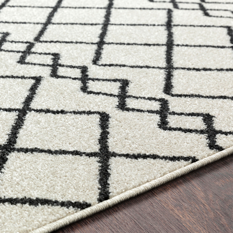 Egyptian Diamond Rug in Black and White
