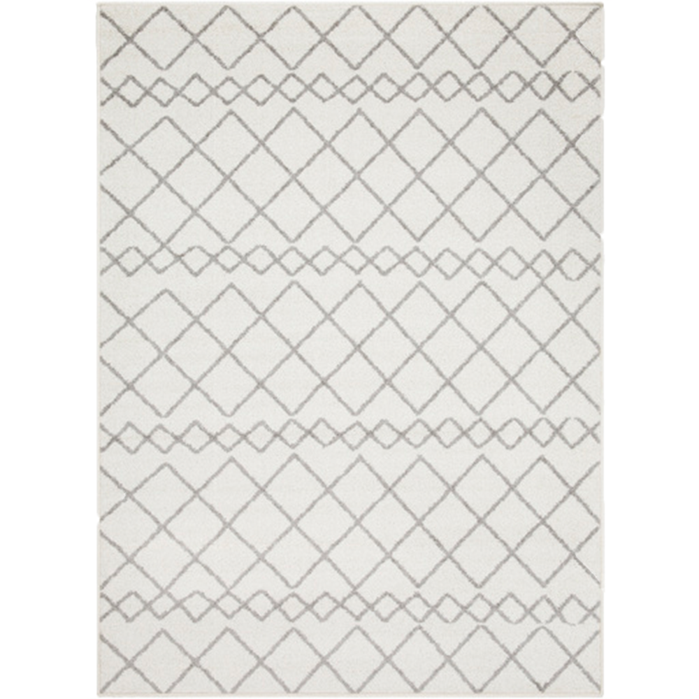 Egyptian Diamond Rug in Gray and White