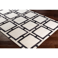 Black and Cream Geometric Rug
