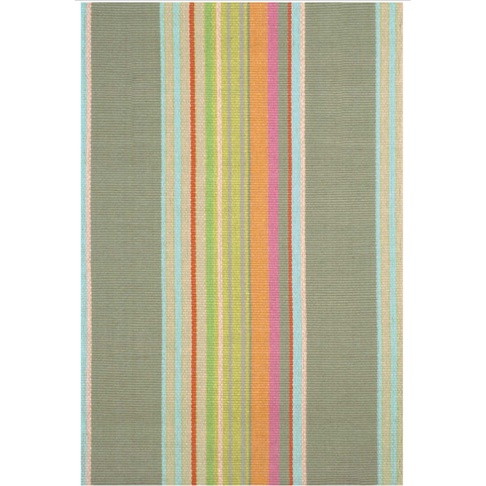 Green and Coral Striped Indoor/Outdoor Rug