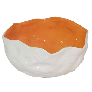 Tangerine and White Decorative Bowl