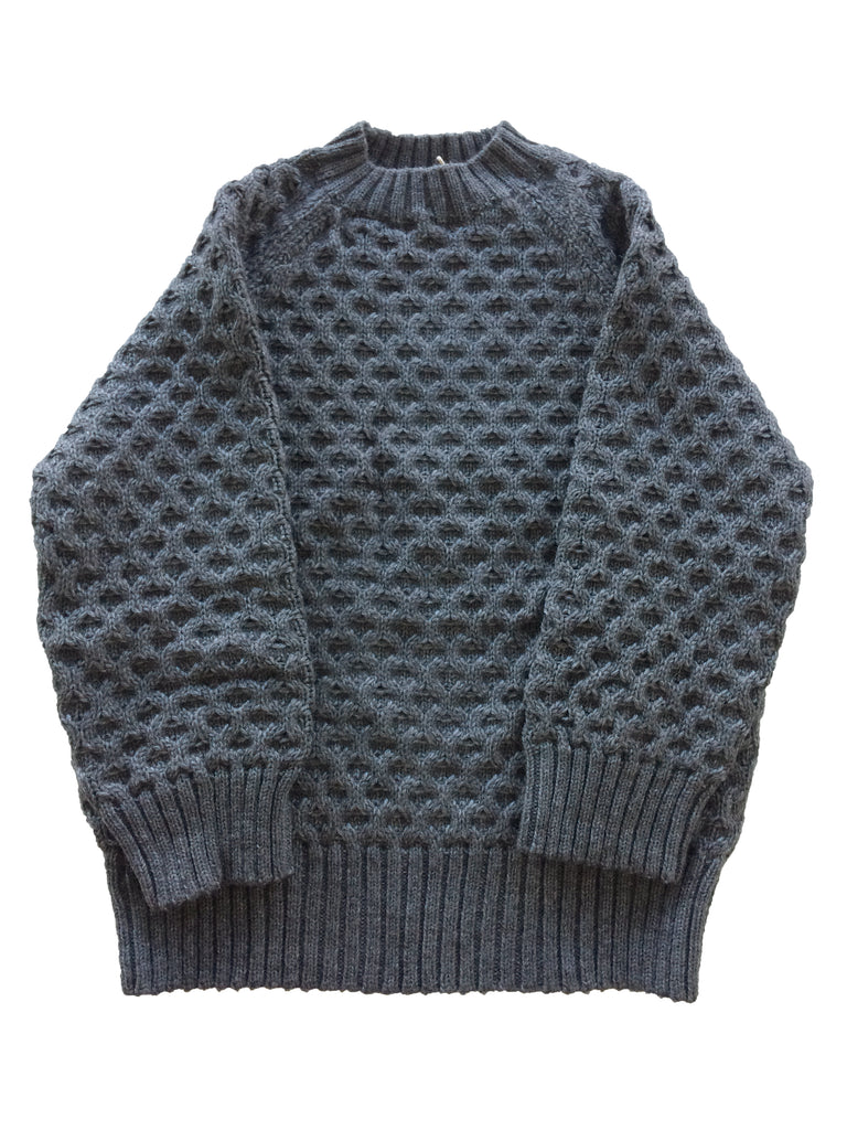 Melange Grey Honeycomb Cable Sweater