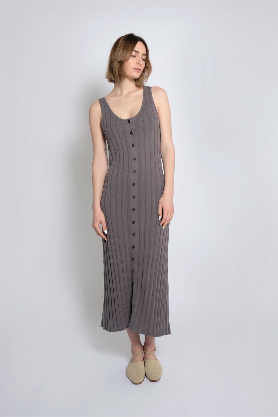 Smoke  Accordion Pleated Dress