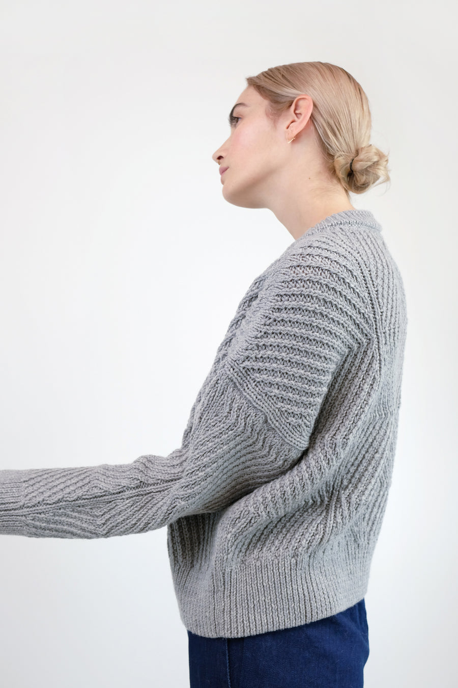 Melange Light Grey Bevel Sweater
