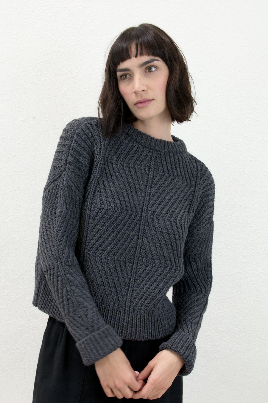 Melange Grey Bevel Sweater