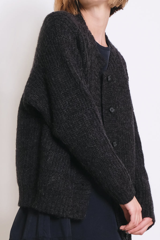 Melange Black Chain Stitch Cardigan