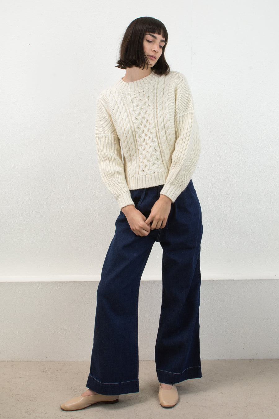 Cream Cropped Fisherman Pullover