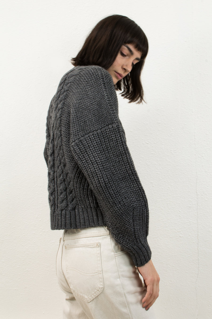 Melange Grey Cropped Fisherman Pullover
