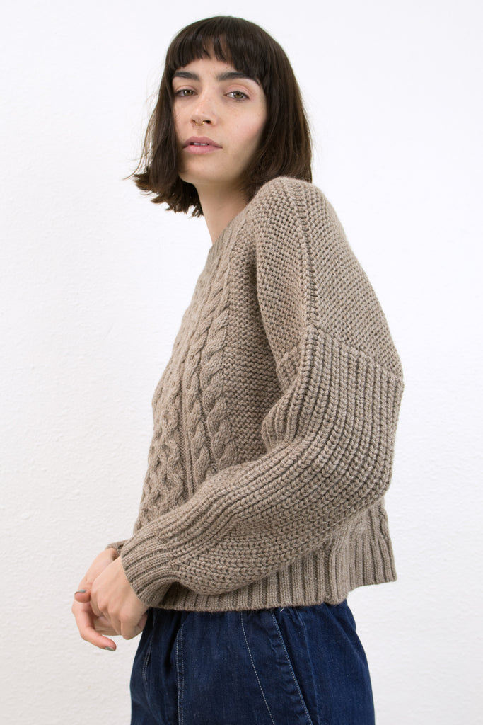 Tan Cropped Fisherman Pullover