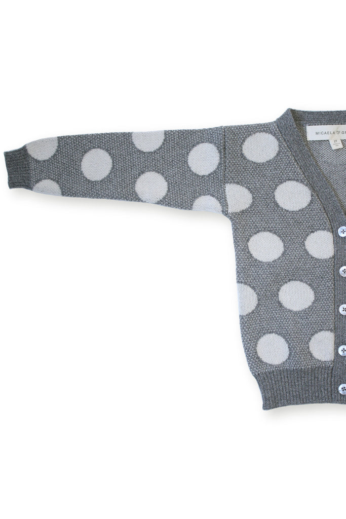 Cloud Grey Dot Cardigan