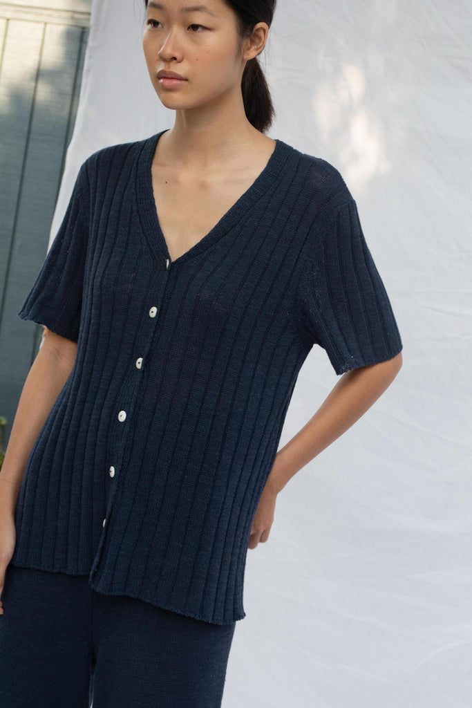 Navy Eve Rib Cardigan