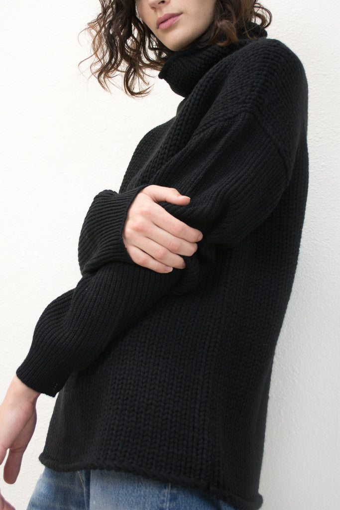 Black Funnel Neck Sweater