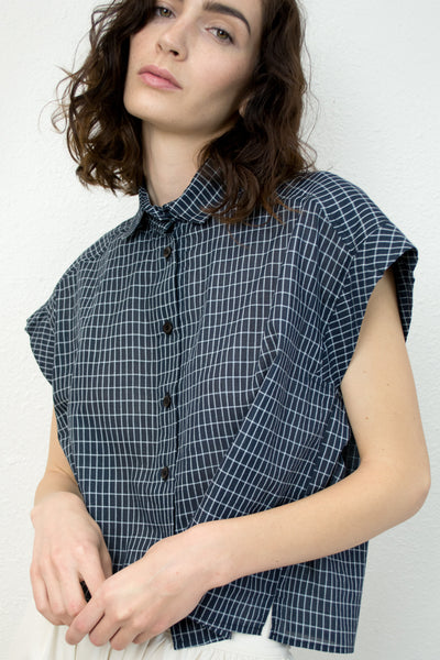 Grid Piece Sleeve Button Up