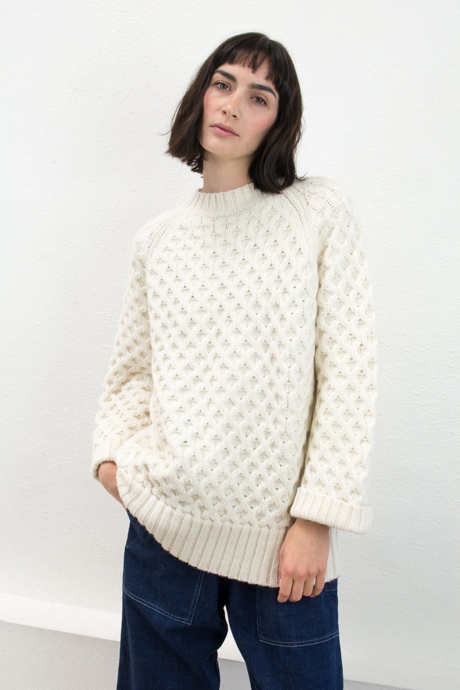 Cream Honeycomb Cable Sweater