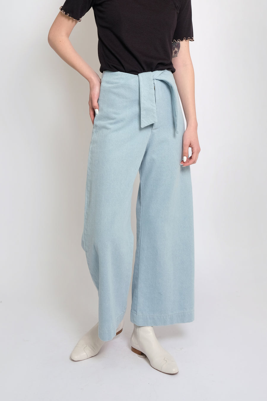 Sky Blue Denim Knotted Sailor Pant