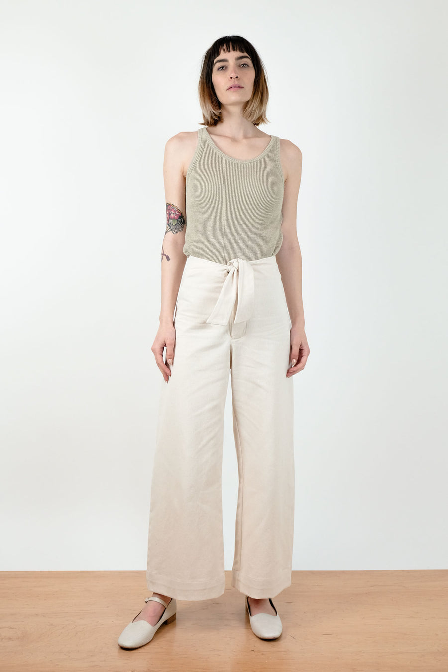 Cream Knotted Sailor Pant