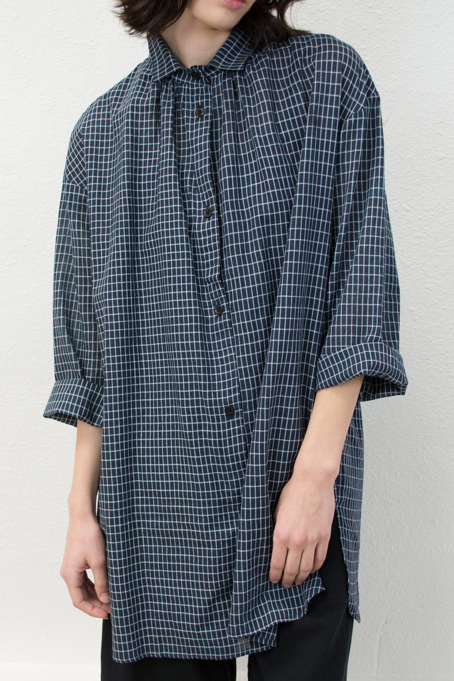 Long Sleeve Grid Button Up