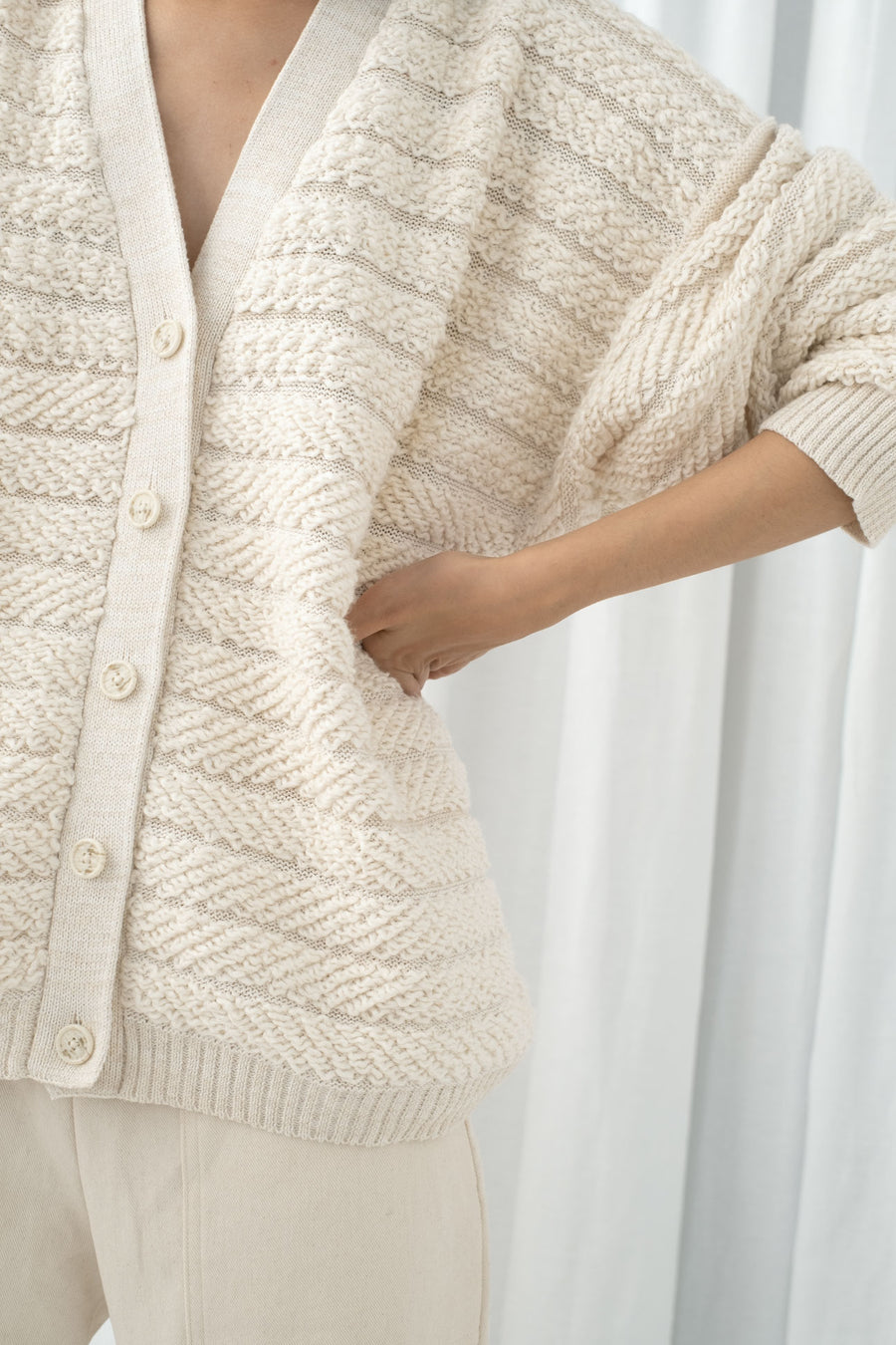 Cream Loop Cardigan