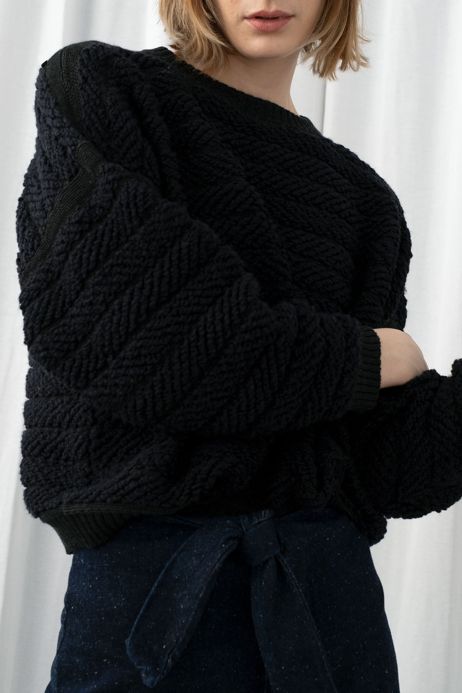 Melange Black Loop Pullover