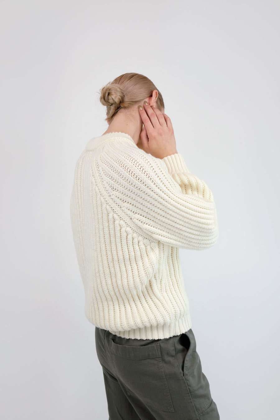 Cream Miter Rib Sweater