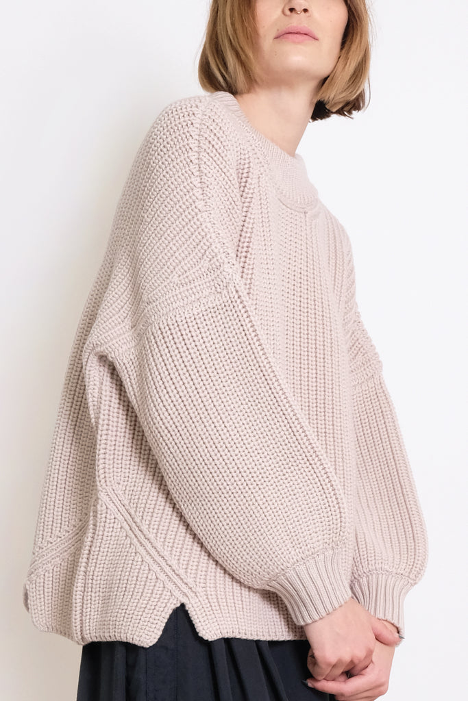 Chalk Notched Hem Sweater