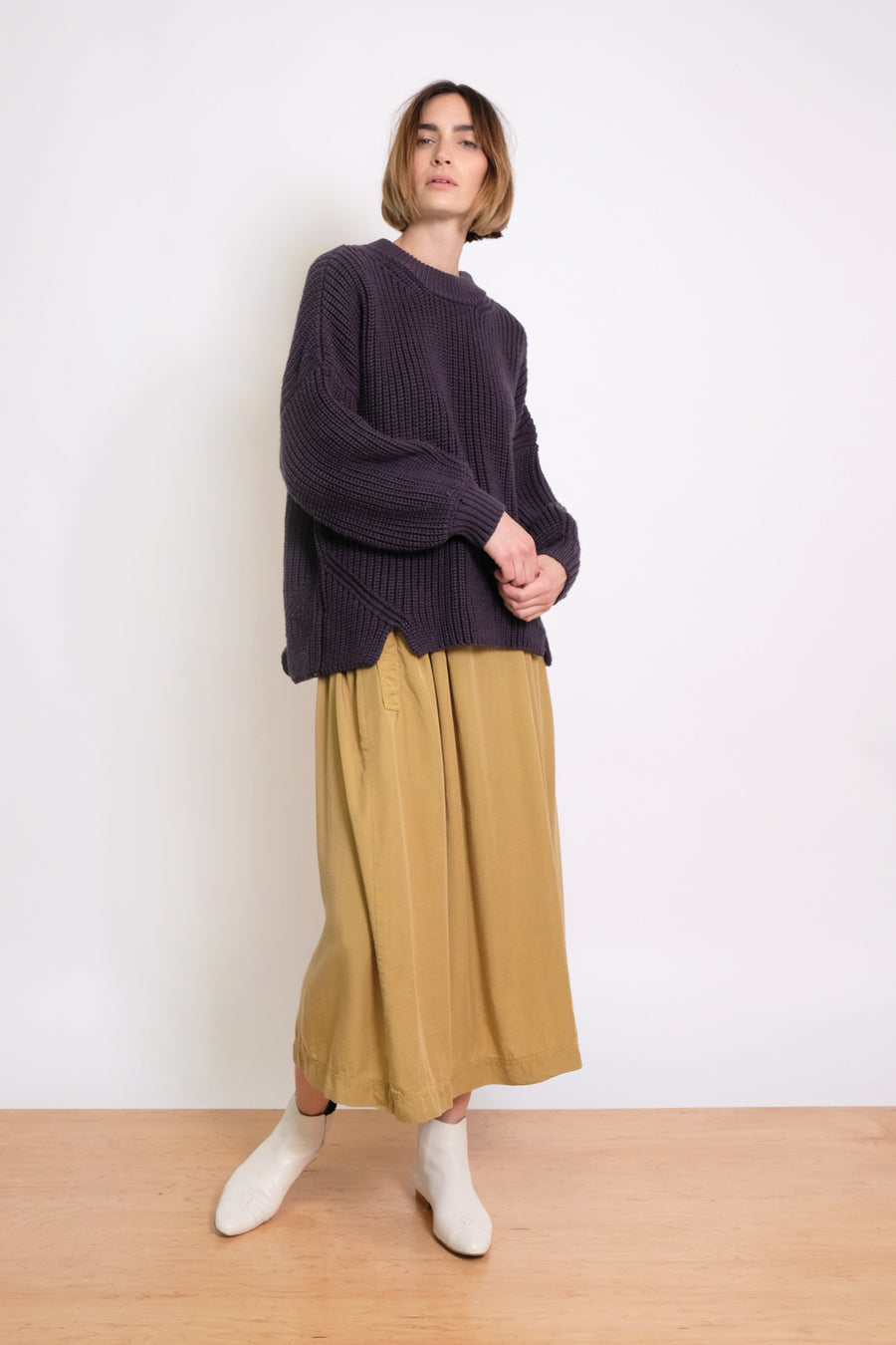 Lapis Notched Hem Sweater