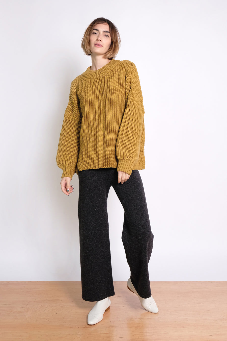 Ochre Notched Hem Sweater