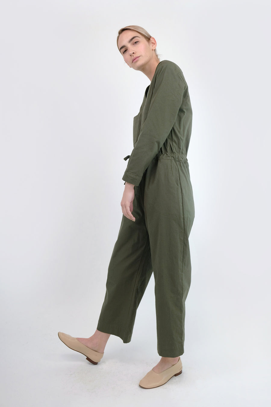 Olive Tie Coverall