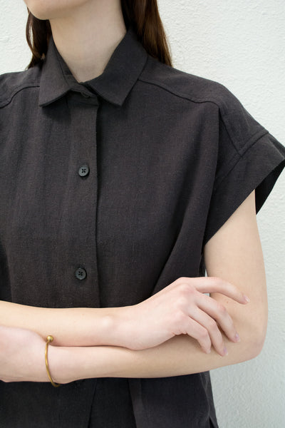 Black Pieced Sleeve Button Up
