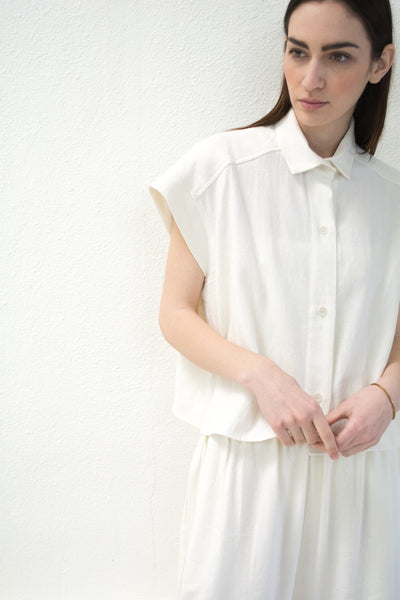 White Pieced Sleeve Button Up