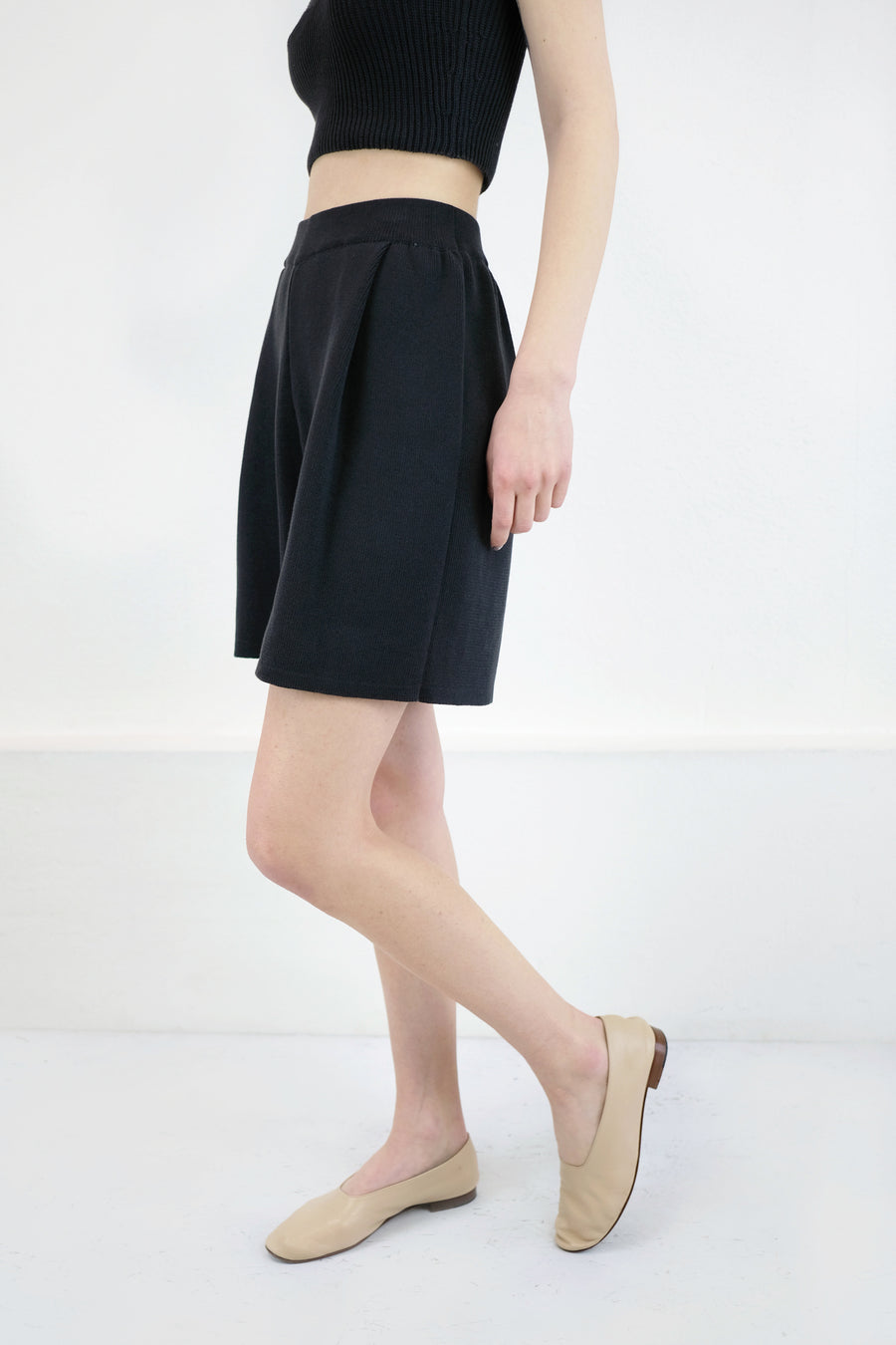 Faded Black Pleated Knit Short