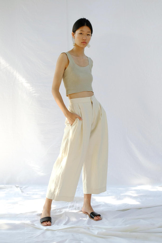 Natural Pleated Trouser