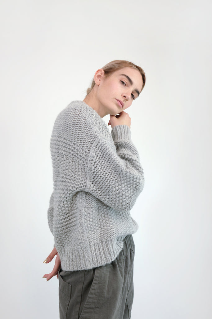 Mixed Grey Ply Knit Pullover