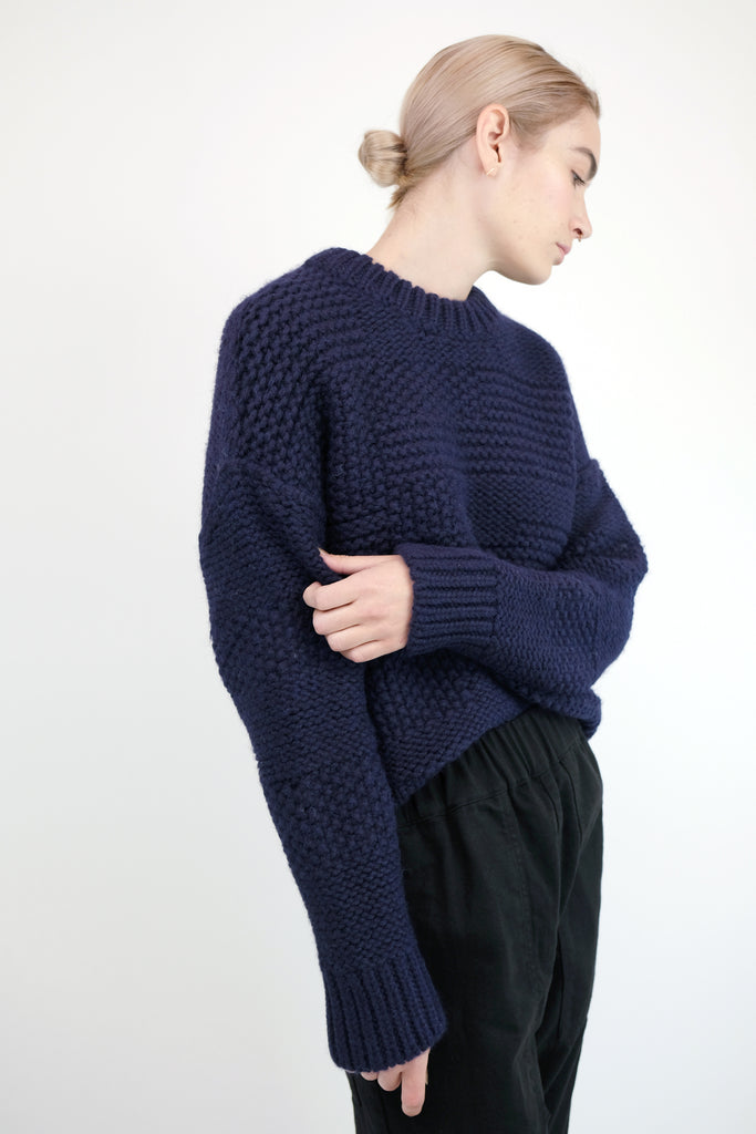 Navy Ply Knit Pullover
