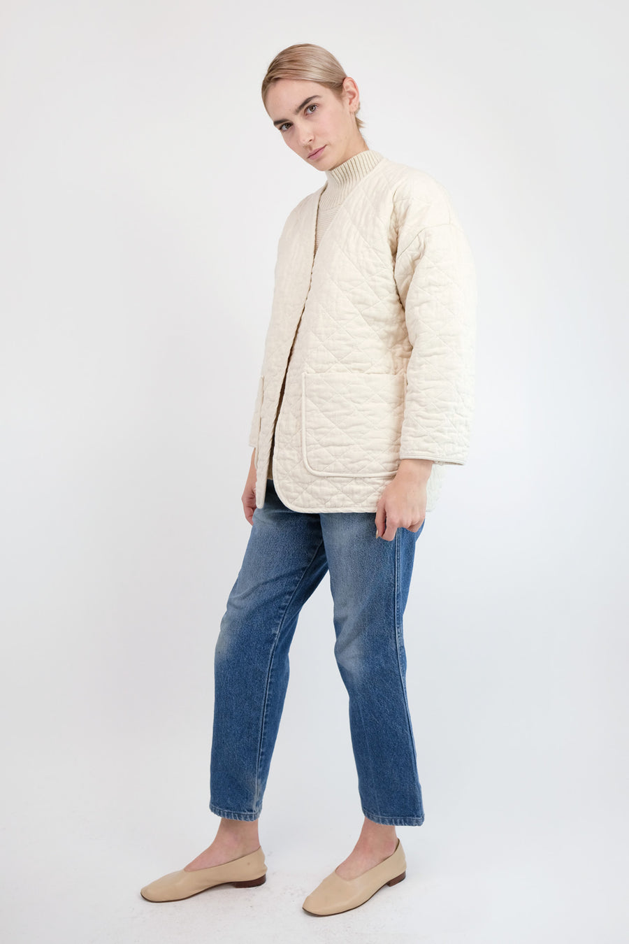 Cream Quilted Jacket