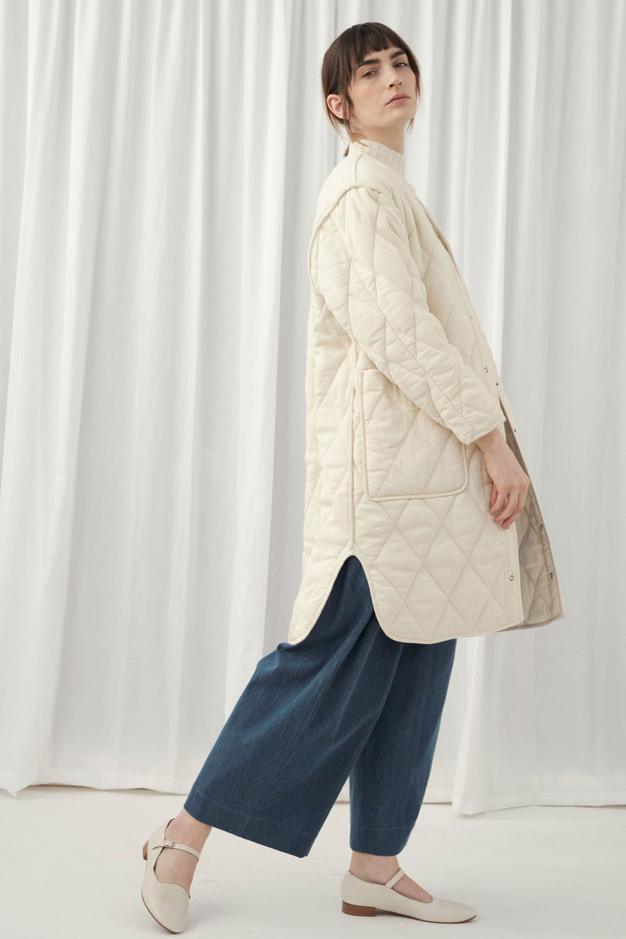 Cream Long Quilted Jacket
