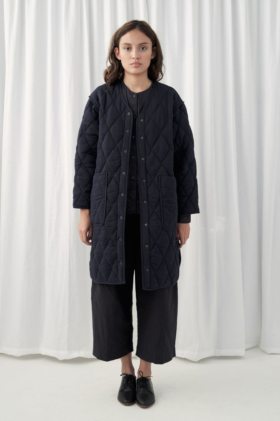 Deep Indigo Long Quilted Jacket