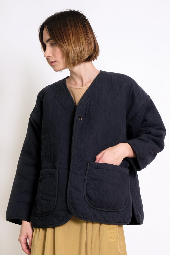 Midnight Blue Diamond Quilted Jacket