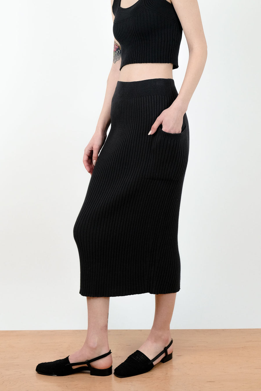 Faded Black Rae Rib Skirt