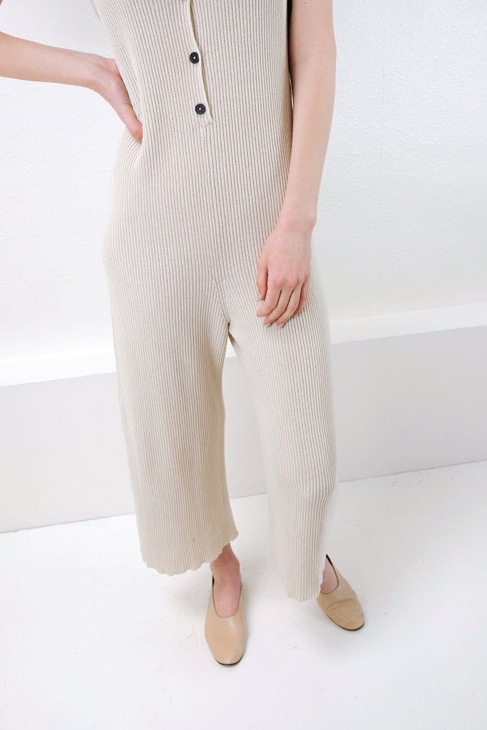 Cream Rib Jumpsuit