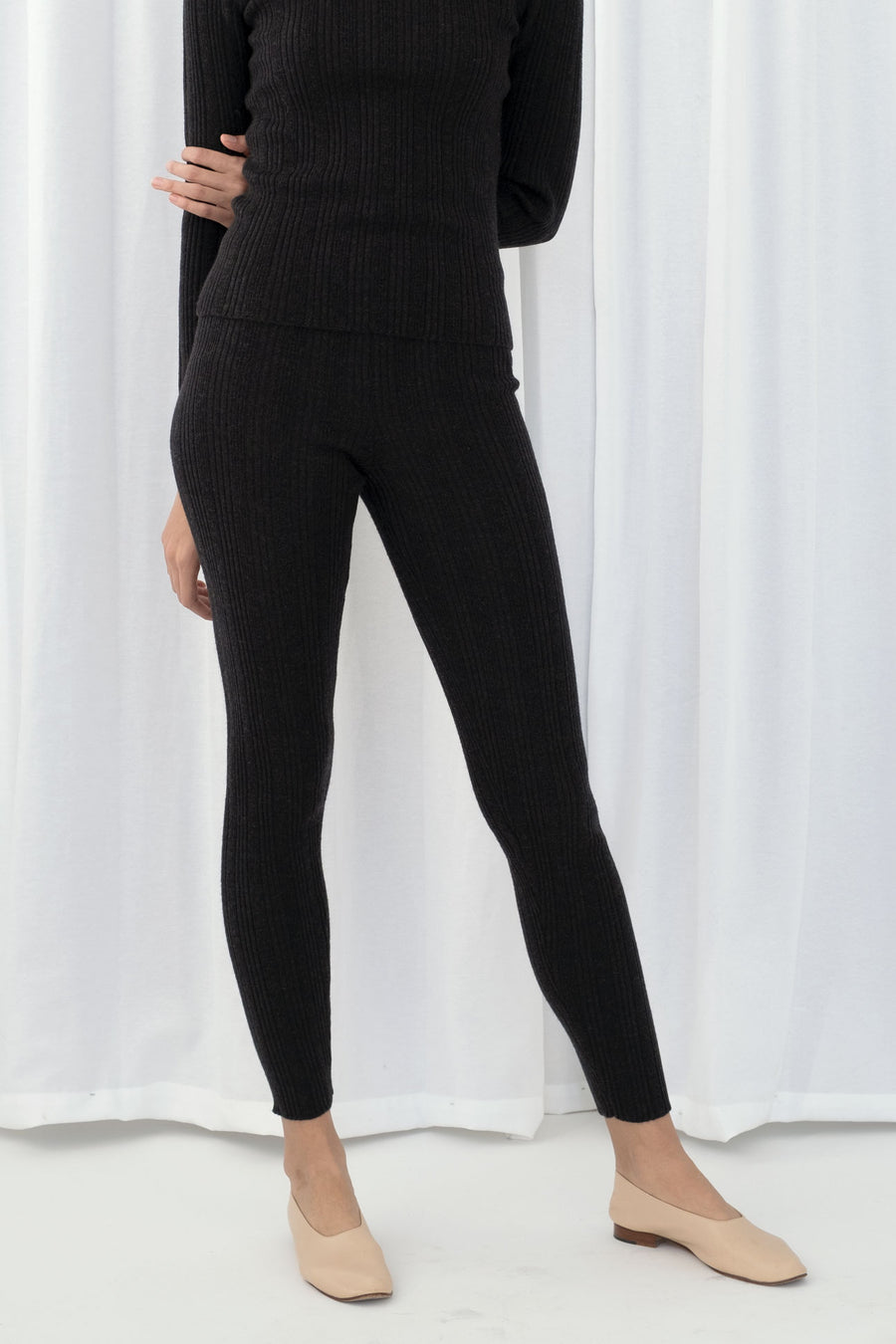 Melange Black Rib Legging