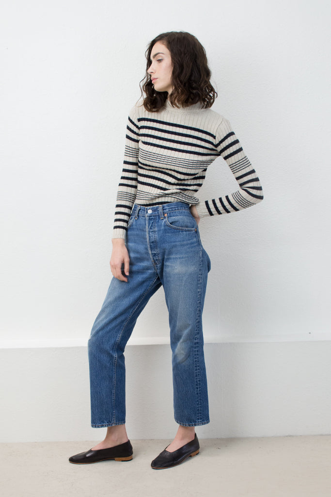 Black/Cream Rib Striped Sweater