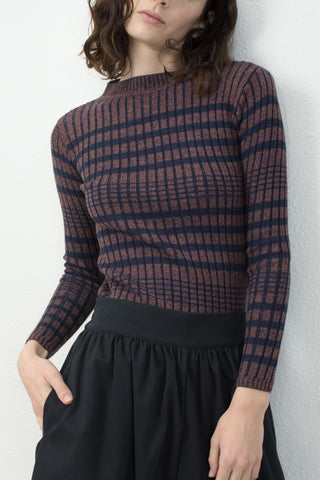 Navy/Speckle Rust Rib Striped Sweater